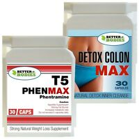 T5 30 PHENMAX PHENTRAMINE STRONG DIET WEIGHT LOSS PILLS + 30 DETOX COLON CLEANSE