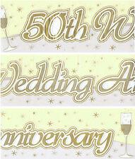 50TH GOLDEN WEDDING ANNIVERSARY BANNER PACK GOLD & CREAM DECORATIONS (EW) 96