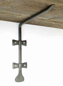 "Pair Wrought Iron 10"" Shelf Brackets Handmade Forged Metal Wall Farmhouse Holder"