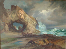 WILLIAM F PASKELL WHITE MOUNTAIN SCHOOL COASTAL w BOAT & FIGURE DRAMATIC MASSIVE