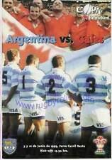 ARGENTINA V Galles 2nd test 12 JUN 1999 FIRMATO RUGBY PROG 16 salvataggio automatico Iframe Gareth Thomas
