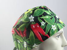 Medical_Surgical_ scrub hat_cap_Red_green_chili_peppers_HOT_100% cotton_unisex