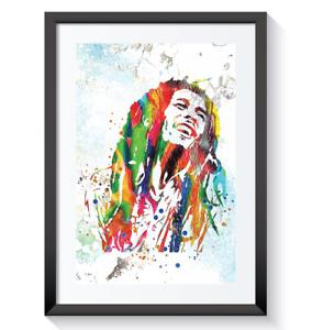 Bob Marley Framed Picture Print Pop Reggae Music Retro Abstract Wall Art A3 A4 4