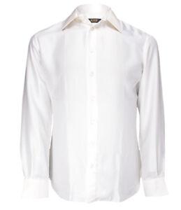 Uomo Luxury Men's White Patterned Silk Evening Shirt Jacquard, 41(16), 44(17.5)
