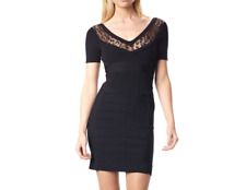 French Connection Mesh Lace Dani Crepe Knit V Neck Bodycon Party Dress 8 36