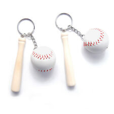 Baseball and Wooden Bat Keychains Key Ring, 3-Inch (Pack 2)