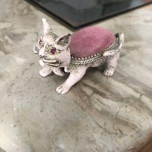 "Vintage Mid Century Signed Florenza Trembler Nodding Cat Pin Cushion 2.5"""