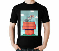 Tom The Cat Happy To Chilling On Snoopy House Peanuts Comic Black T-Shirt S-6XL