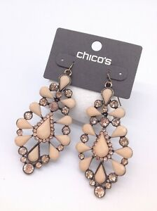 CHICO'S stunning Peach colored chandelier earrings  NWTS