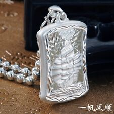 Pure S990 Sterling Silver Men Cool Square With Ship 一帆风顺 Pendant  14g