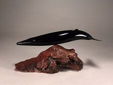 """FIN WHALE """"Ebonite"""" Figurine New Direct from JOHN PERRY 12in long Statue Decor"""