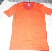 Zumba Men T Shirt Tangerine Red Two Tone V Neck Short Sleeves Cotton Size S Nwt