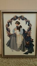 Completed Finished Cross Stitch Lavender & Lace Sweet Dreams Lady & Baby Framed