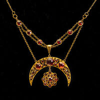 Antique Victorian Crescent Moon & Star Old Cut Garnet 15ct Gold Necklace c.1890
