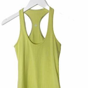 Lululemon Cool Racerback Neon Yellow Women's Athletic Tank Top, Size 2
