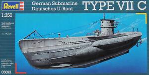 WWII GERMAN U-BOAT TYPE VII C REVELL 1:350 PLASTIC MODEL SUBMARINE KIT
