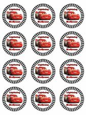 "CARS 3 LIGHTNING McQUEEN 2"" ROUND CUPCAKE WAFER PAPER BIRTHDAY CAKE TOPPERS (24)"