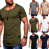 Men Slim Fit O Neck Short Sleeve Muscle Tee Shirts Casual T-shirt Blouse Tops