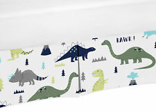 Baby Crib Skirt Dust Ruffle For Sweet Jojo Blue Green Mod Dinosaur Bedding Set