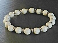 Spiritual Beads Men's Bracelet 8mm White Turquoise with Silver Bali Spacers SALE