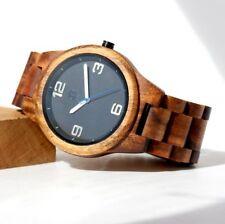Round Face Premium Quality Free Ship Beautiful Hawaiian Koa wood watch Black