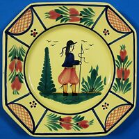 "Quimper France Soleil Yellow Brenton Man Octagonal Plate 7 3/4"""