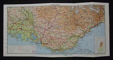 Vintage Map: The Riviera, France, by John Bartholomew, 1966, Colour