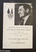 VINTAGE BOOKLET / DISCURSO SEN. RAFAEL HERNANDEZ COLON / PUERTO RICO 1969