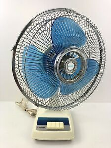 TATUNG VINTAGE ELECTRIC FAN 12-INCH OSCILLATING 1980s LC-12WSA BLUE BLADE