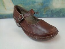 EASTLAND Womens Brown Leather Country Rib Stitch Velcro Mary Jane Shoe 9M