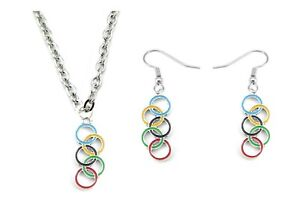 Colored Enamel Olympic Rings Earring and Necklace Jewelry