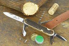 HUBERTUS TOURIST'S POCKET KNIFE w. PEN BLADE, AWL, BOTTLE & CAN OPENER / STAG