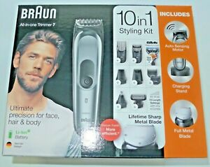 Braun All-in-One Trimmer 7, 10-in-1 Hair Cut Clippers and Styling Kit Cordless