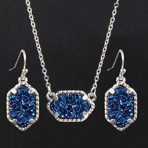 Silver Mini Pendant Necklace With Earrings Jewelry Set Glitter Druzy Chic Choker