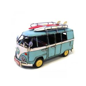 Volkswagen Kombi Van with 2 Surfboards Ornament Vintage Gift For Decor - Blue