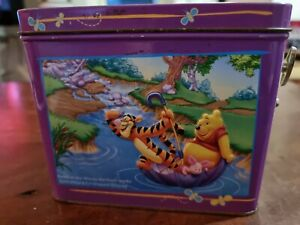 Winnie the Pooh Song Musical Embossed Tin Box AA Milne  Disney used empty