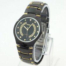Para hombres de muy alta calidad Negro Y Oro Acero Inoxidable Reloj Ajustable último