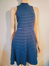BNWT Size M 12 Old Navy Women's Fit & Flare Skater Dress Blue Striped Knit high