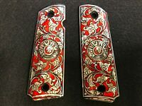 Custom Hand Made Mother Of Thailand Pearl 1911 Taurus Emblem grips red cachas
