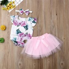 Au Baby Girl Toddler Cotton Floral Top & Tutu Headband Summer Spring Outfit Set