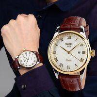 Skmei Classic Mens Wrist Watches Luxury Quartz Auto Date Casual Business Leather
