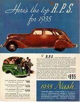 1935 ORIGINAL VINTAGE NASH CAR MAGAZINE AD