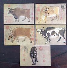 Set 5 pc CHINESE ART Han Huang FIVE BULLS Cow CHINA Calligraphy Postcard