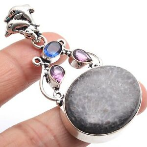 """STINGREY CORAL, AMETHYST & 925 SILVER PLATED PENDANT 2"""", P-4651"""