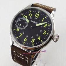 44mm CORGEUT Black Dial Luminous 17 jewels 6497 Hand-Wind Movement Men's Watch