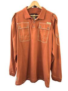 COOGI Vintage Long Sleeve Polo Shirt Size XXL Burnt Orange