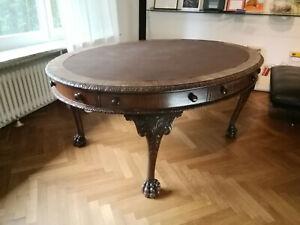 Esstisch,Tisch, Antik, Jugendstil, um 1900, massives Holz, Mahagoni, Löwenfüße