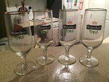 4 X Collectable GLASS Heineken Stemmed Glasses with Gold Gilding Rim