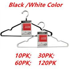 NonSlip Metal Clothes Hanger Flocked Laundry Coat Wardrobe Suit Pant Rack Closet
