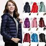 Women's Hoodie Puffer Packable Down Jacket Ultralight Stand Collar Coat Winter